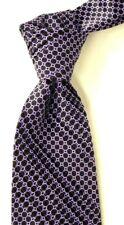 "$450 Stefano Ricci Pleated Satin Black & Purple Geo Silk Neck Tie NWT 3.6"" W"