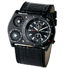 OULM Cool Military Army Japan Quartz Wrist Watch Leather Sports Mens Boys Gift