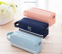 Large Capacity Double Zip Pen Pencil Case School Stationery Cosmetic Makeup Bag
