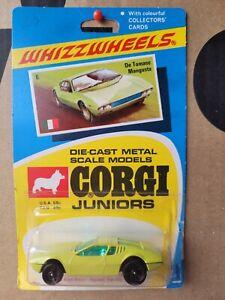 CORGI WHIZZWHEELS - DETOMASO MANGUSTA [GREEN] CAR MINT VHTF BLISTER CARD GOOD