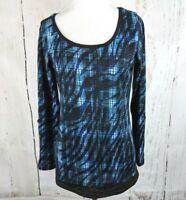 Women's BOBBIE BROOKS Long Sleeve Plaid Knit Top M Blue Black Roll Tab Shirt