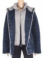 Bonita Damen Jacke Winterjacke Parka Mantel mit Kapuze blau grau Gr.42