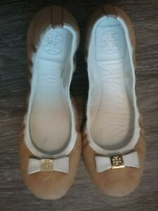 TORY BURCH Taupe Cream Eddie Leather Bow/Logo Ballet Flats - Size 6.5 Medium