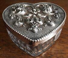 Signed Atlantis Lead Crystal Heart Box Silverplated Lid Topazio Portugal