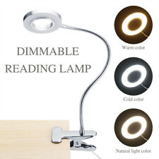 Portable LED Ring Light Clip on Bed Desk Table Lamp Reading Makeup Night Light