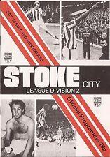 Football Programme - Stoke City v Sunderland - Div 2 - 24/9/1977