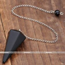 Natural Obsidian Hexagonal Pyramid Taper Cone Healing Pendulum Chain Pendant