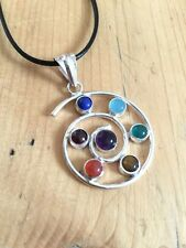 Superbe!!! chakra cristal spirale collier pendentif guérison pierres reiki