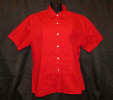 ORVIS Womens Size 14 Red Pleated Shirt White Buttons Excellent Condition