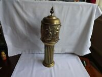 UNUSUAL ANTIQUE BRASS DRINKS CONTAINER ON PEDESTAL HEIGHT 38 cm