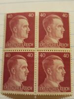 Ww2 German Adolf Hitler block of 4 Stamps Deutsches Reich Nazi 40rpf.  Unused