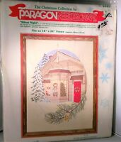 Vintage 1979 Paragon Silent Night Christmas Crewel Embroidery Kit Village House