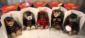 Complete Set 5 Steiff Golden Age of the Circus Band, Bear Dog Cat Lion Crocodile