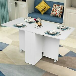 Mobile Drop Leaf Kitchen Dining Table Folding Desk With 2 Wheels Storage Shleves