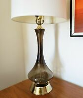 Vtg.  Mid Century Modern Smoked Glass Genie Bottle Table Lamp Hollywood Regency