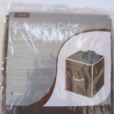 Collapsible Cube TWO Whitmor brown white fabric 12x12x12 NEW SEALED