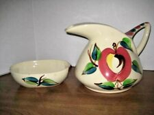 Vintage Purintan Hand Painted Apple Design Pitcher And Bowl