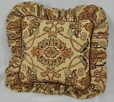 Pillow made w Ralph Lauren Northern Cape Rug Floral Tapestry Fabric 12x12 ruffle