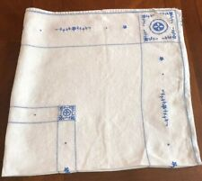 Vintage Hand-Embroidered Blue On Off White/beige Cotton Fabric Tablecloth