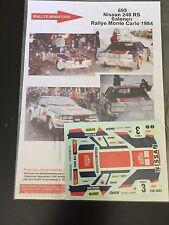 DECALS 1/43 NISSAN 240 RS SALONEN RALLYE MONTE CARLO 1984 RALLY WRC