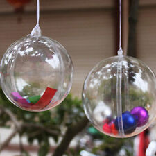 10 PACK 6CM CLEAR PLASTIC BAUBLES OPENING FILLABLE BALLS ADVENT CALENDAR
