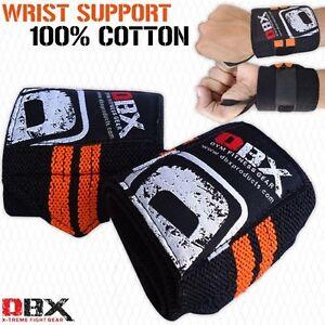 Weight Lifting Wrist Support Cotton Bandage Elasticated Gym Wraps Orange - PAIR