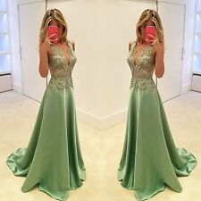 Fashion Green V Neck Lace Prom Long Formal Evening Dresses Pageant Bridal Gown