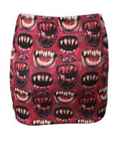 Vintage Print Scary Bloody Lips Teeth Monster Fashion Mini Party Sexy Skirt Sz L