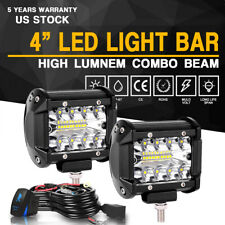 "2X 4"" 120W LED Work Light Bar Spot Flood Driving Fog OffRoad 12V+ Wiring Harness"
