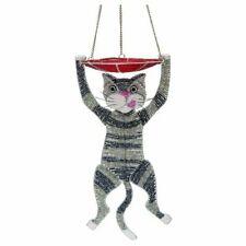 Grass Roots Cat Feeder Hanging Beadworx Whimsical Kitty Bead Wire Sculpture Nwt