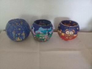 3 Teelichthalter Gläser bunt bedruckt m. Stadt, Eule, Engel