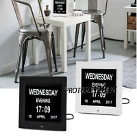 """LED Dementia 8"""" Digital Calendar Day Clock Extra Large Time Day/Week/Month/Year"""