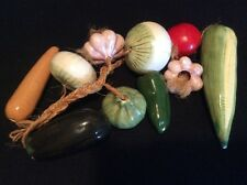 Vintage 10 Ceramic Wall Hanging Vegetables On A Rope Kitchen Decor Mexico