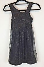 JUSTICE Girls Dress Size 10 Wedding Dressy Christmas Party Floral Sequin Black