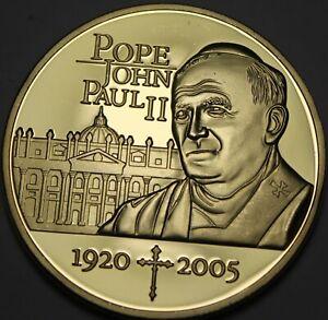 Gem Cameo Proof 24k Gold Plated Pope John Paul II Medallion~God Brings Good Luck