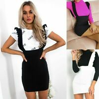 Womens Ladies Bodycon Pinafore Strap Ruffle Frill Party Short Mini Party Dress