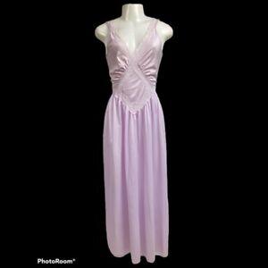 "Women VTG 80's Danni New York Nylon Purple Olga-esque Nightgown 116"" Sweep L"