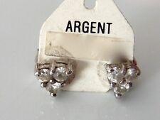BOUCLE D'OREILLE CLOU  ZIRCONIUM ARGENT VINTAGE 70 NEUF/OLD /NEW SILVER EARRINGS