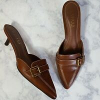 Ralph Lauren Womens Brown Leather Stacked Kitten Heel Loafer Mule Shoes Size 7