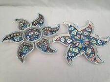 Sun Shaped Aperitif, Tapas, Snack Bowls. Handmade, Handpainted Tunisian Rainbow