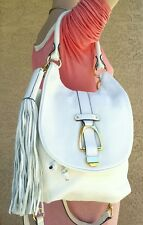 NEW winter white G.I.L.I Leather Convertible Backpack purse handbag satchel tote