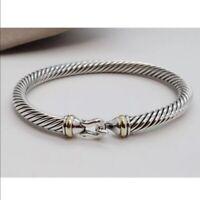 David Yurman Sterling Silver 925 5mm Cable 18k Gold Buckle Cuff Bracelet Small