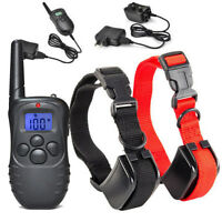 Rechargeable! Waterproof For 2 dogs LCD Shock&Vibrate Remote Dog Training Collar