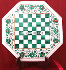 White Marble Top Malachite Coffee Chess Table Inlay Living Room Arts Decor H3698