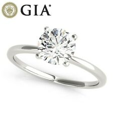 GIA CERTIFIED DIAMOND WEDDING RING VS1 G 0.8 CARAT ROUND 18K WHITE GOLD SZ 4-9