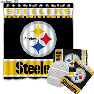 Pittsburgh Steelers Bathroom Rugs Shower Curtains 4PCS Toilet Lid Cover Mats Set