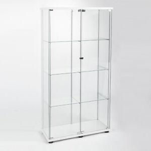"""Two-door Glass Display Cabinet 4 Shelves with Door Bookshelf 64"""" x 30""""x 14.5"""" US"""
