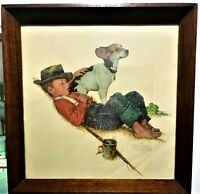 """Norman Rockwell """"Puppy Love Pat"""" Framed Print Wood frame w/ glass. 16X16"""