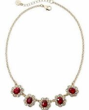 MONET ELEGANT PRINCESS STYLE RED & CLEAR CRYSTAL NECKLACE! NEW! FREE SHIP!