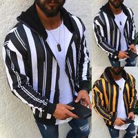 Men's Long Sleeve Striped Winter Warm Hooded Sweatshirt Coat Jacket Outwear To%x